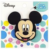〔小禮堂〕迪士尼 米奇 造型矽膠伸縮手機立架《黑.大臉》支架.捲線器.手機配件 8039310-70011
