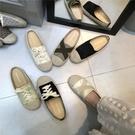 草編鞋 韓國前繫帶漁夫鞋新款草編休閒鞋秋款復古學生低跟板鞋女-Ballet朵朵