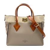 【台中米蘭站】全新品 Louis Vuitton ON MY SIDE 拚色手提斜背兩用包(M53825-卵石色)