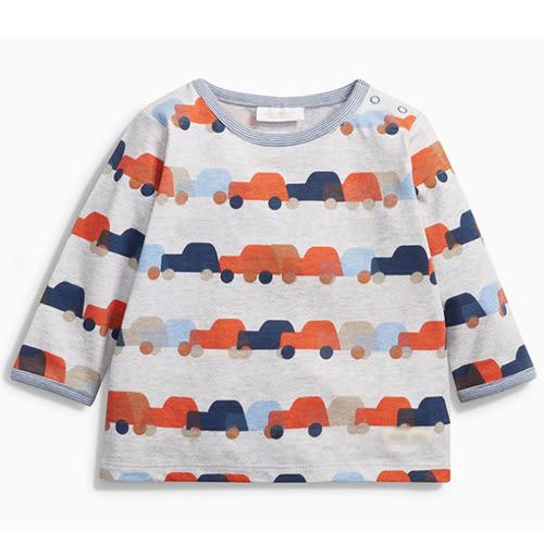上衣 男童 排隊車車  歐美經典兒童純棉長袖T恤