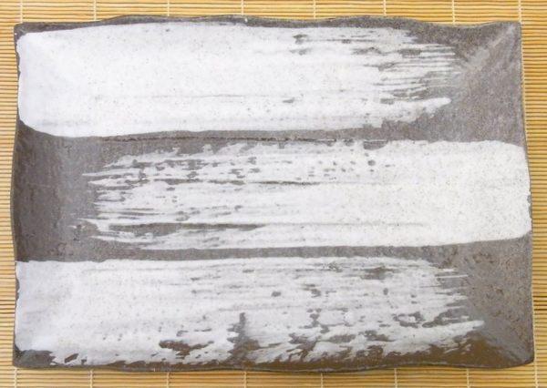 日本陶瓷【萬古燒】白刷毛目 34x24cm大方盤 手工陶土 和風宴客餐盤