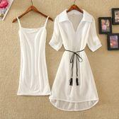 套裝  裙子韓版打底裙吊帶裙兩件套裝純色雪紡裙時尚連身裙