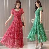 短袖洋裝 夏裝長裙女碎花大擺裙氣質顯瘦雪紡短袖洋裝冷淡風仙女裙子 鉅惠85折