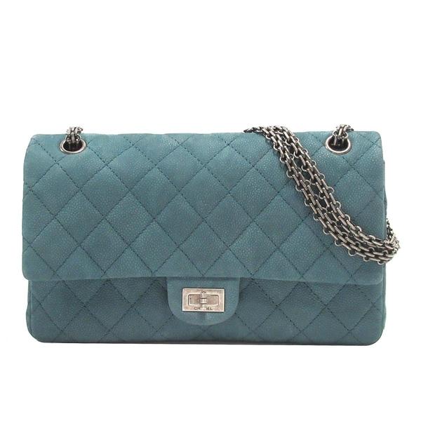 CHANEL 香奈兒 藍綠色皮革2.55方釦雙蓋肩背包 Reissue Chain Flap Bag 【BRAND OFF】