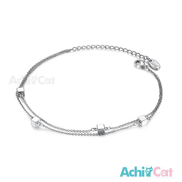 AchiCat 腳鍊 正白K 方塊樂園 雙鍊 銀色 J6005