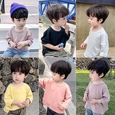 童裝男童長袖t恤2020新款秋季兒童純棉體恤中小童純色休閒打底衫 店慶降價