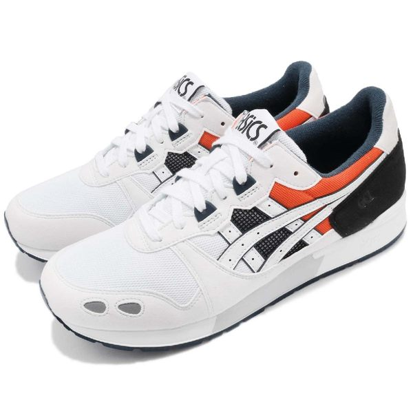 Asics 休閒慢跑鞋 Gel-Lyte 白 黑 橘 麂皮鞋面 復古 運動鞋 男鞋【PUMP306】 H825Y-0101