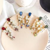 #耳環#復古#珍珠 流蘇 彩色 水晶 寶石 拼接 氣質 耳釘 耳環【DD1904226】 icoca  05/09