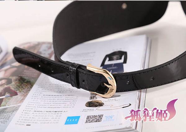 來福妹腰封,H390腰封漆皮百搭後扣造型腰封腰帶皮帶寬腰帶,售價250元