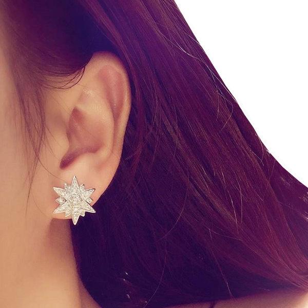S925純銀針 閃耀星花鋯石耳環 經典百搭 (0492)