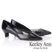 2019春夏_Keeley Ann時尚膠片 側邊簍空低跟包鞋(黑色)-Ann系列