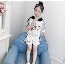 女童套裝童裝女童夏裝款夏季套裝中大童小女孩洋氣韓版純棉短袖兩件套 快速出貨