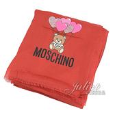 茱麗葉精品【全新現貨】 MOSCHINO 03657 M2229 氣球小熊印花莫代爾薄圍巾.紅