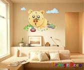 壁貼【橘果設計】可愛豬3D DIY 創意壁貼立體掛鐘  三代壁貼 壁貼鐘  靜音時鐘