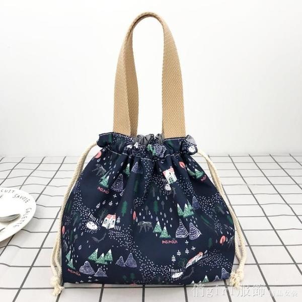 便當袋 新款女包防潑水抽繩飯盒袋日式可愛卡通午餐袋帶飯包包手提便當包 開春特惠