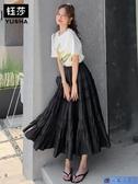 均碼 黑色赫本風中長款蛋糕裙女夏季2020新款A字裙半身裙雪紡長裙 3C數位百貨