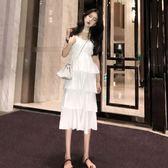巴厘島海邊度假中長款V領連身裙鬆緊腰吊帶蛋糕裙年會 伊蒂斯女装