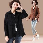 外套上衣開衫秋衣中大尺碼L-5XL新款燈芯絨純色西裝領薄外套上衣NB11-376.