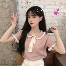 2021新款韓版網紅短袖針織衫女外穿洋氣套頭娃娃領打底衫上衣 小宅妮