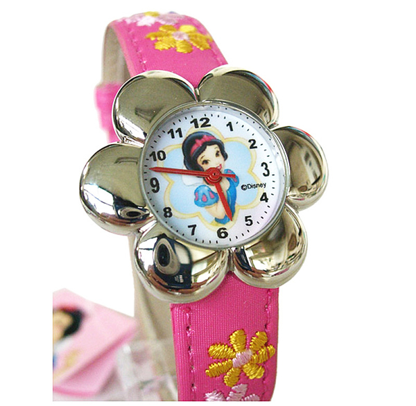 【卡漫城】 白雪 手錶 粉紅布料 錶帶 ㊣版 繡花 花形框 公主 Snow Princess 皮革 兒童錶 卡通錶 女錶