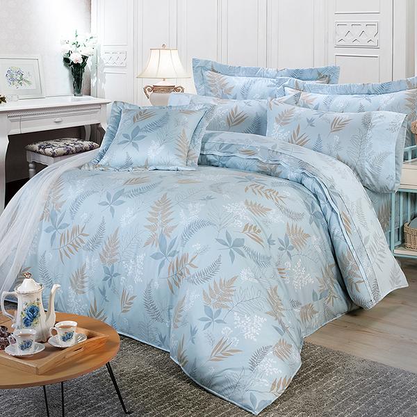 【FITNESS】精梳棉雙人七件式床罩組-里葉亭(藍)_TRP多利寶