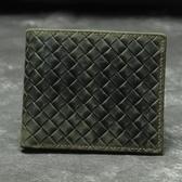 瘋馬皮皮夾(短夾)-時尚經典編織紋對折男錢包73qs57【時尚巴黎】