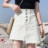 大碼夏季高腰不規則包臀裙學生半身裙女顯瘦A字牛仔短裙 全店88折特惠