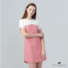 方便穿著的一件式洋裝 小方格X純色 拼接出視覺撞色感 袖口搭配小蝴蝶結裝飾 展現俏皮可愛LOOK