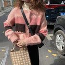 針織毛衣 長袖毛衣 秋冬外套拼色針織開衫女寬松短款外套H5F-501.依品國際