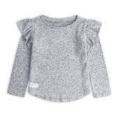 Gap女幼童 甜美風格荷葉邊飾袖口圓領上衣497472-麻灰色