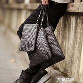 潮手工編織包男信封包休閒軟皮手拿包社會青年手拎大容量文件手包『艾麗花園』