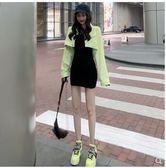 秋季2019新款港風小個子短款果綠色超火cec長袖寬鬆牛仔外套女潮 蘑菇街小屋