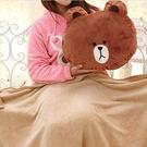 Sexy cat】來自星星的你 同款 LINE布朗熊 可妮兔抱枕空調毯 蓋毯兩用靠枕(毯子顏色隨機)