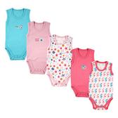 Luvable Friends 背心無袖包屁衣五件組 粉海馬 | 女寶寶連身衣(嬰幼兒/兒童/小孩)
