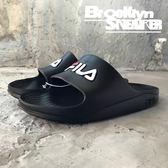 Fila 黑底白Logo 防水 拖鞋 (布魯克林) 2018/7月  4-S355Q-001