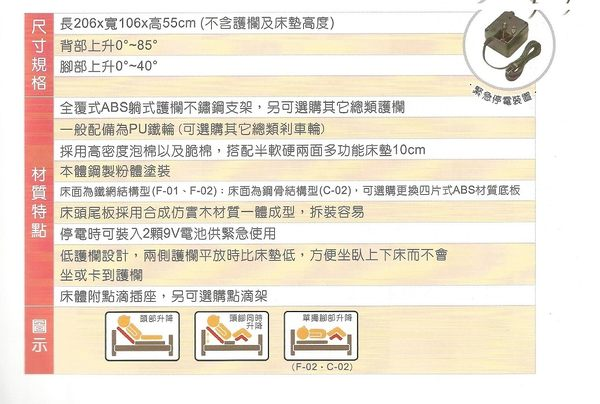電動病床/電動床 立明交流電力可調整式病床(未滅菌)一般居家木飾板單馬達F01-LA型【送精美贈品】