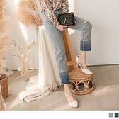 《BA5972-》高含棉率性刷色破損直筒褲腳反摺牛仔褲 OB嚴選