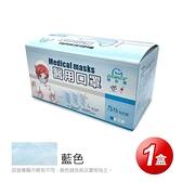【南紡購物中心】【GRANDE格安德】醫用成人平面口罩(50片/盒),共1盒,藍色