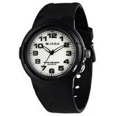捷卡 JAGA 指針錶 白面 黑色橡膠 38mm 學生錶/大錶/童錶 清楚時間判讀 時間玩家 AQ68A-A