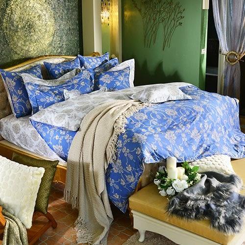義大利La Belle《蘭陵國境》加大四件式防蹣抗菌舖棉兩用被床包組