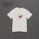 Queen Shop【01037652】親子系列 早餐日文印花短T 1/2/3/4*現+預*