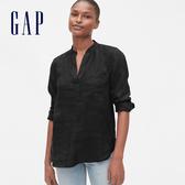 Gap女裝簡約純色開領長袖襯衫577605-正黑色