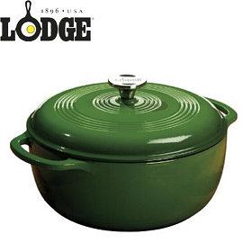 丹大戶外【LODGE】Enamel 6QT彩色琺瑯鑄鐵鍋10.5吋/鑄鐵材質/荷蘭鍋/平底煎鍋/造型模具 EC6D53 綠
