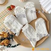 白色花邊襪純棉堆堆襪女中筒襪日系秋冬【小橘子】