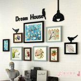 歐式田園實木照片墻創意組合 客廳臥室相片墻相框掛墻裝飾xw【優兒寶貝】