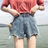 女裝韓版復古闊腿褲高腰顯瘦牛仔短褲