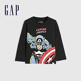 Gap男幼童 Gap x Marvel 漫威系列印花圓領長袖T恤 649639-暗夜黑