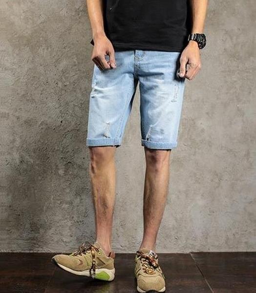 FINDSENSE品牌 時尚潮流 男 日系破洞 薄款 大尺碼 加肥 加大 牛仔中