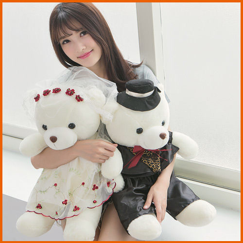 100cm繡花婚紗熊1對/情侶熊/男女結婚熊婚慶/壓床娃娃車頭結婚情人節禮物另有泰迪熊