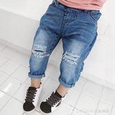 兒童牛仔褲 兒童牛仔褲男新款男童淺色破洞褲子韓版寶寶乞丐褲1-3歲 童趣潮品
